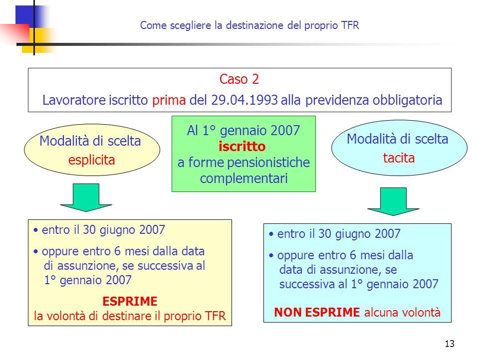 13 Come scegliere la destinazione del proprio TFR entro il 30 giugno 2007 oppure entro 6 mesi dalla data di assunzione, se successiva al 1° gennaio 20