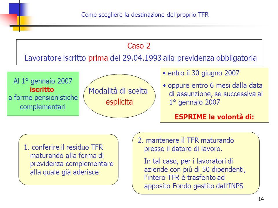 14 Come scegliere la destinazione del proprio TFR entro il 30 giugno 2007 oppure entro 6 mesi dalla data di assunzione, se successiva al 1° gennaio 2007 ESPRIME la volontà di: Modalità di scelta esplicita 1.
