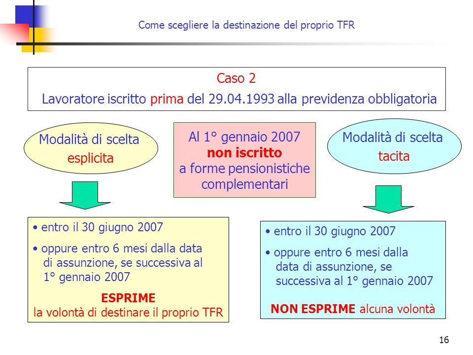 16 Come scegliere la destinazione del proprio TFR entro il 30 giugno 2007 oppure entro 6 mesi dalla data di assunzione, se successiva al 1° gennaio 20
