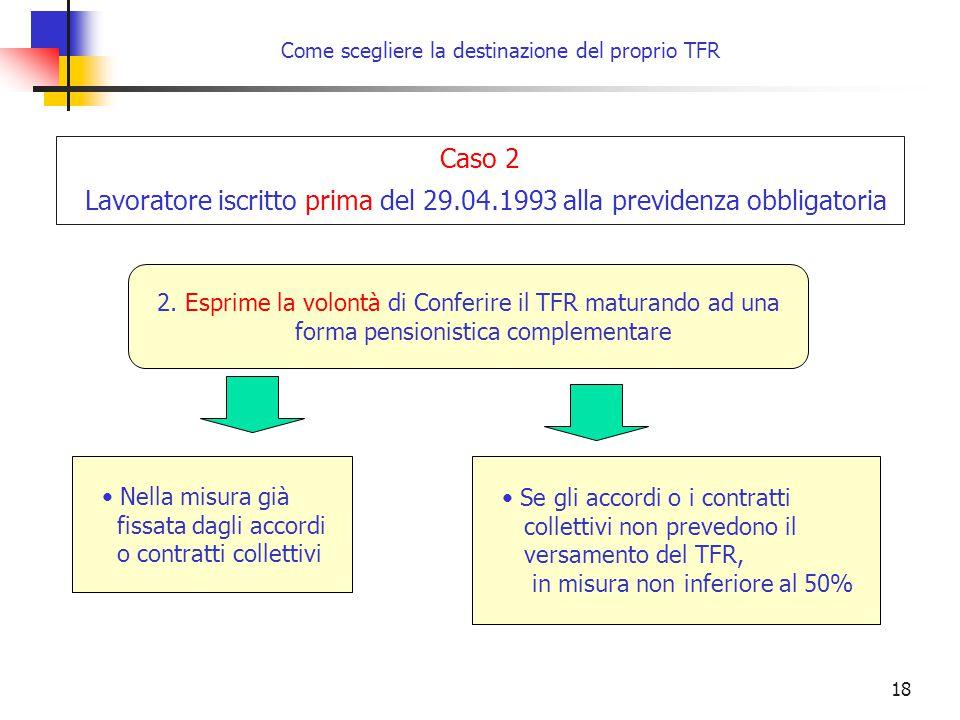18 Come scegliere la destinazione del proprio TFR 2. Esprime la volontà di Conferire il TFR maturando ad una forma pensionistica complementare Caso 2