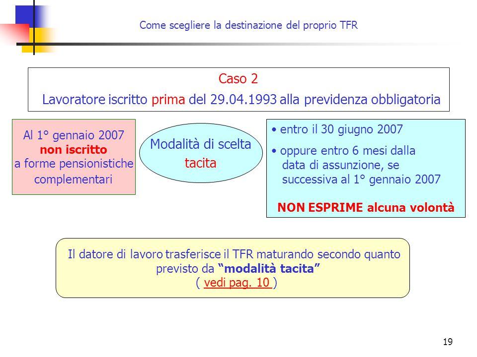 19 Come scegliere la destinazione del proprio TFR entro il 30 giugno 2007 oppure entro 6 mesi dalla data di assunzione, se successiva al 1° gennaio 20