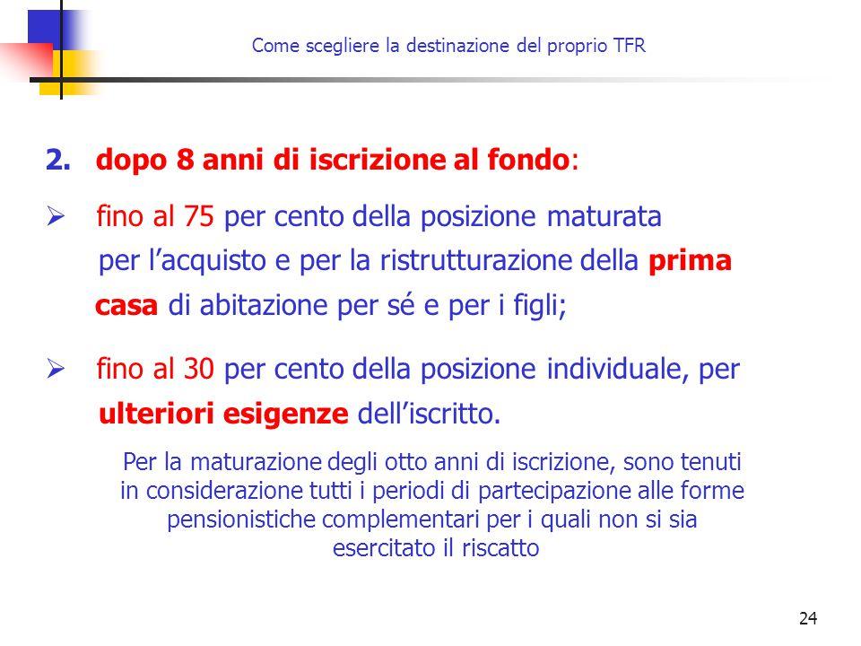 24 Come scegliere la destinazione del proprio TFR 2. dopo 8 anni di iscrizione al fondo:  fino al 75 per cento della posizione maturata per l'acquist