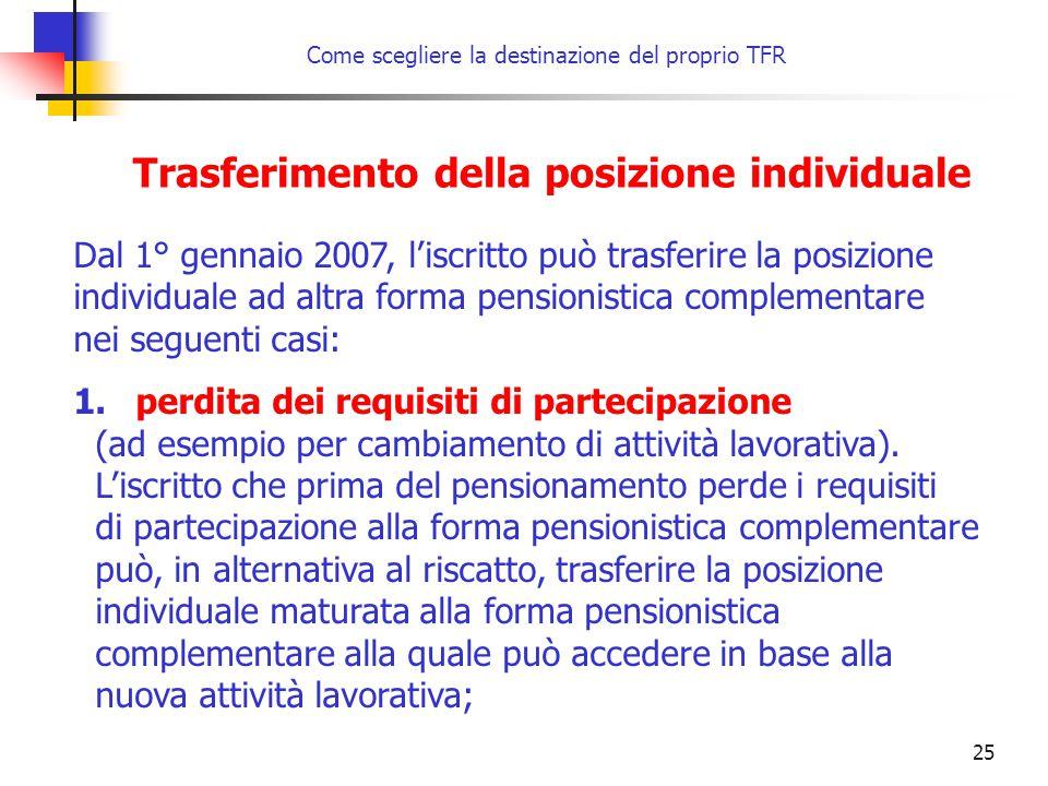 25 Come scegliere la destinazione del proprio TFR Trasferimento della posizione individuale Dal 1° gennaio 2007, l'iscritto può trasferire la posizion
