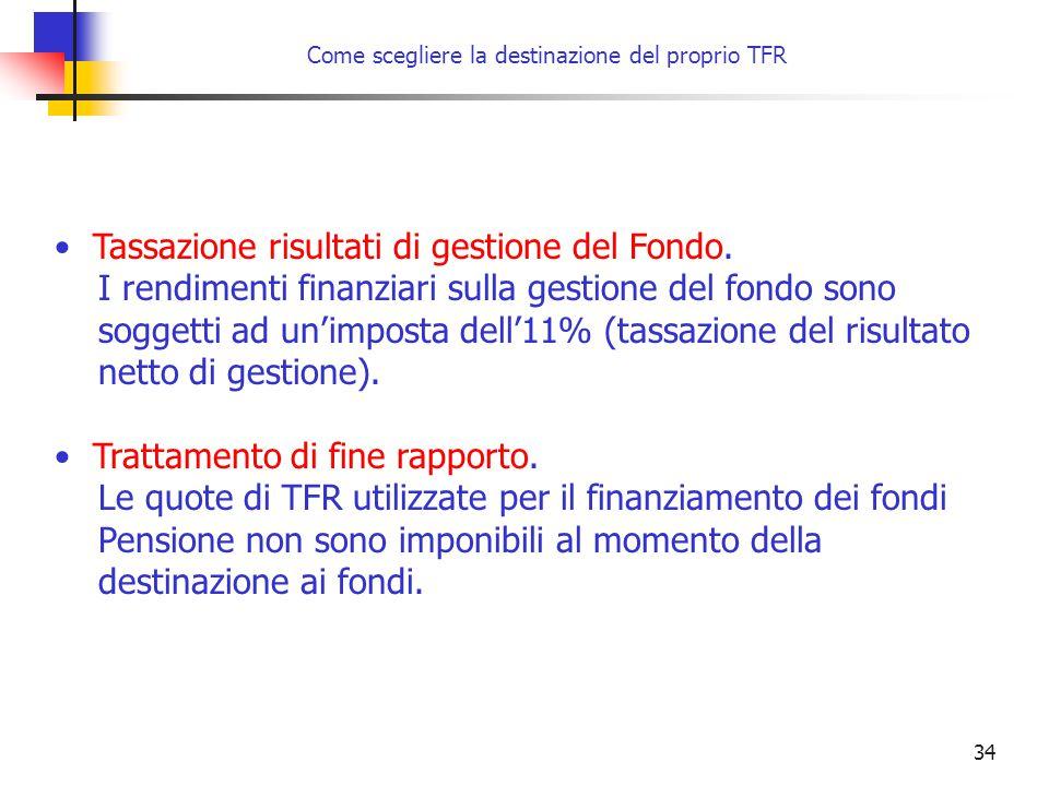 34 Tassazione risultati di gestione del Fondo. I rendimenti finanziari sulla gestione del fondo sono soggetti ad un'imposta dell'11% (tassazione del r