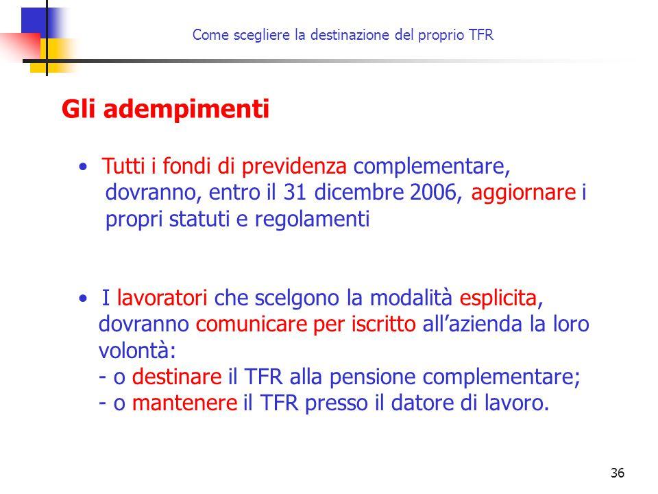 36 Come scegliere la destinazione del proprio TFR Gli adempimenti Tutti i fondi di previdenza complementare, dovranno, entro il 31 dicembre 2006, aggiornare i propri statuti e regolamenti I lavoratori che scelgono la modalità esplicita, dovranno comunicare per iscritto all'azienda la loro volontà: - o destinare il TFR alla pensione complementare; - o mantenere il TFR presso il datore di lavoro.