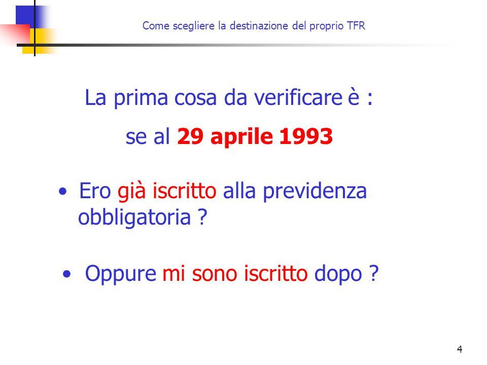 15 Come scegliere la destinazione del proprio TFR entro il 30 giugno 2007 oppure entro 6 mesi dalla data di assunzione, se successiva al 1° gennaio 2007 NON ESPRIME alcuna volontà Il datore di lavoro provvede a: Modalità di scelta tacita Al 1° gennaio 2007 iscritto a forme pensionistiche complementari conferire il residuo TFR maturando alla forma di previdenza complementare alla quale già aderisce Caso 2 Lavoratore iscritto prima del 29.04.1993 alla previdenza obbligatoria