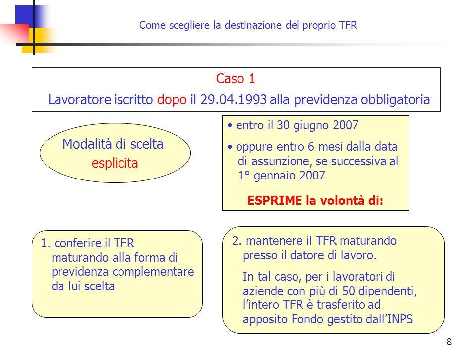 8 Come scegliere la destinazione del proprio TFR entro il 30 giugno 2007 oppure entro 6 mesi dalla data di assunzione, se successiva al 1° gennaio 2007 ESPRIME la volontà di: Caso 1 Lavoratore iscritto dopo il 29.04.1993 alla previdenza obbligatoria Modalità di scelta esplicita 1.
