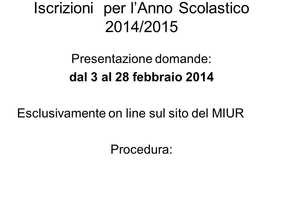 Iscrizioni per l'Anno Scolastico 2014/2015 Presentazione domande: dal 3 al 28 febbraio 2014 Esclusivamente on line sul sito del MIUR Procedura: