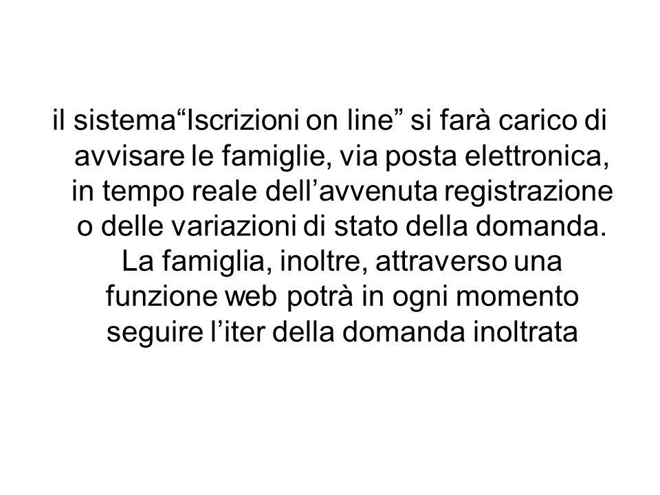 il sistema Iscrizioni on line si farà carico di avvisare le famiglie, via posta elettronica, in tempo reale dell'avvenuta registrazione o delle variazioni di stato della domanda.