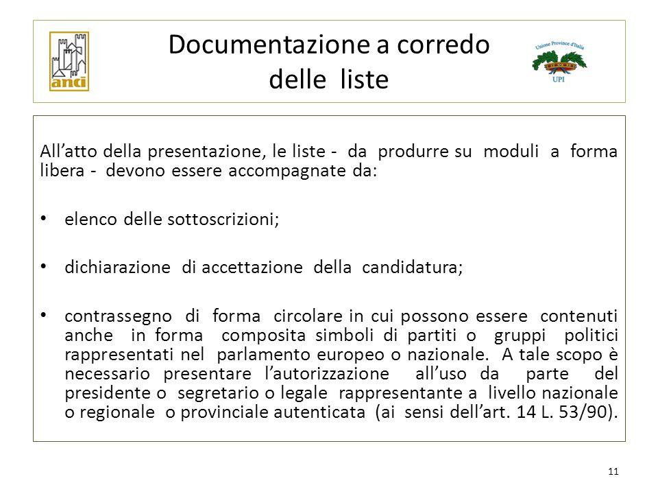 Documentazione a corredo delle liste All'atto della presentazione, le liste - da produrre su moduli a forma libera - devono essere accompagnate da: el