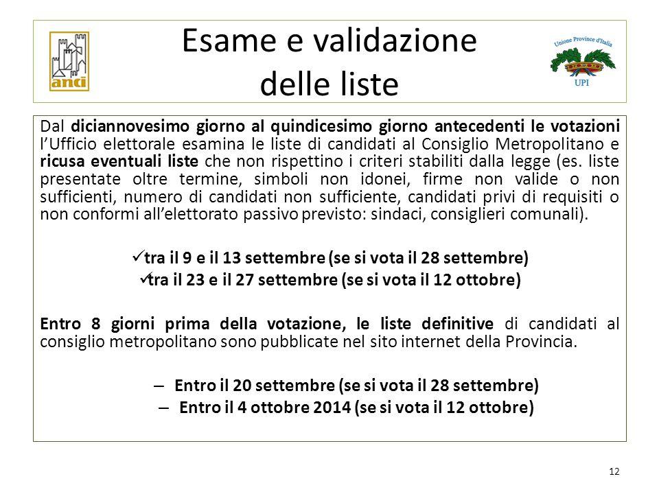 Esame e validazione delle liste Dal diciannovesimo giorno al quindicesimo giorno antecedenti le votazioni l'Ufficio elettorale esamina le liste di can