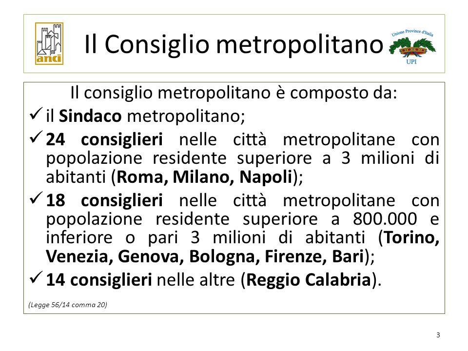 Il Consiglio metropolitano Il consiglio metropolitano è composto da: il Sindaco metropolitano; 24 consiglieri nelle città metropolitane con popolazion