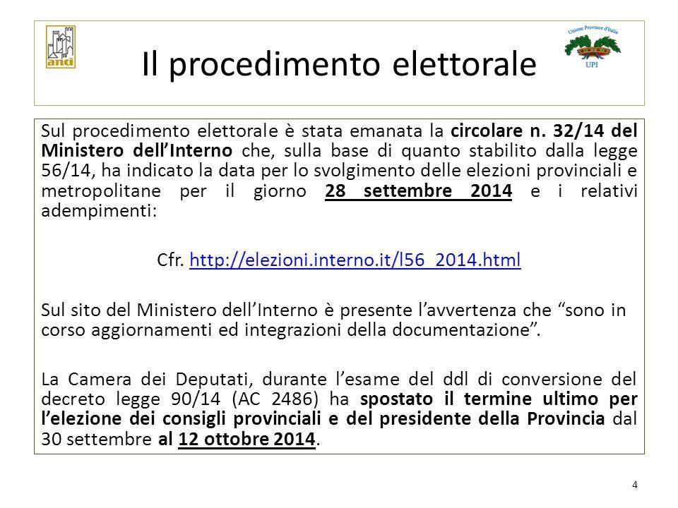 Il procedimento elettorale Sul procedimento elettorale è stata emanata la circolare n. 32/14 del Ministero dell'Interno che, sulla base di quanto stab