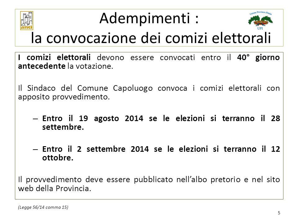 Adempimenti : la convocazione dei comizi elettorali I comizi elettorali devono essere convocati entro il 40° giorno antecedente la votazione. Il Sinda