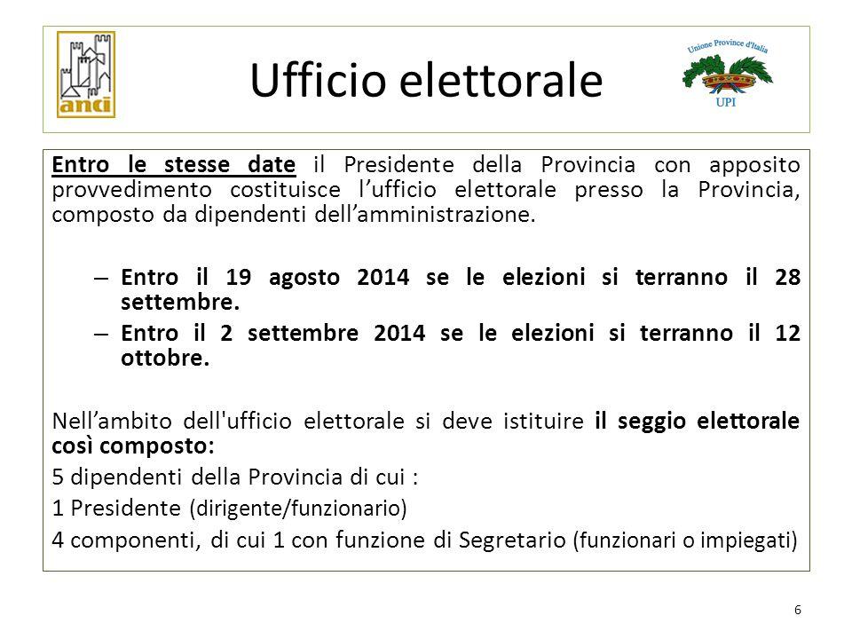 Ufficio elettorale Entro le stesse date il Presidente della Provincia con apposito provvedimento costituisce l'ufficio elettorale presso la Provincia,