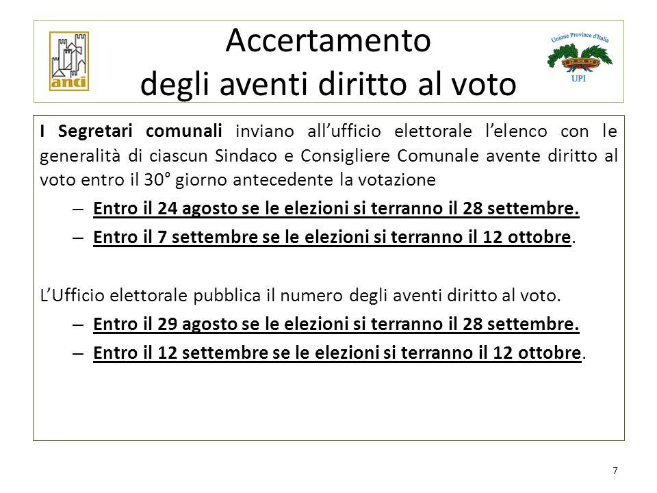 Accertamento degli aventi diritto al voto I Segretari comunali inviano all'ufficio elettorale l'elenco con le generalità di ciascun Sindaco e Consigli