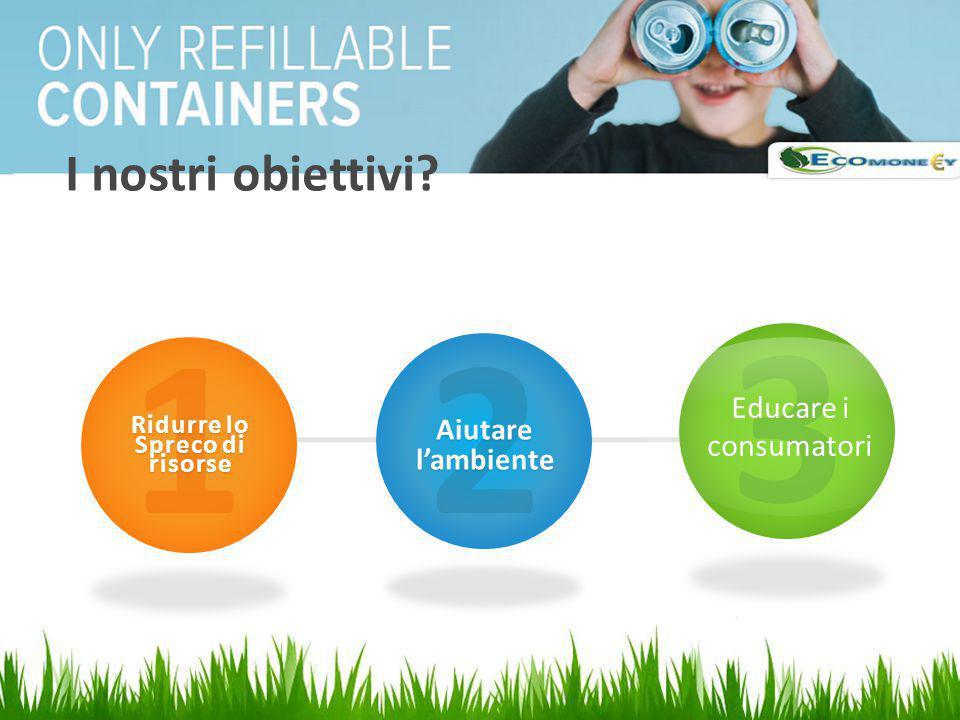 I nostri obiettivi? 1 Ridurre lo Spreco di risorse 2 Aiutare l'ambiente 3 Educare i consumatori
