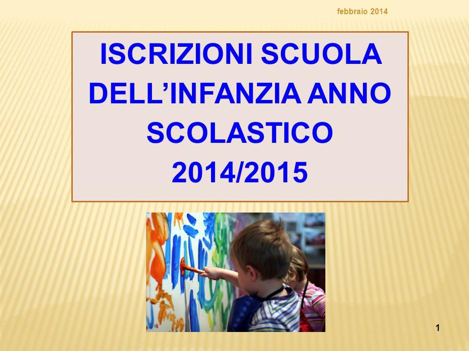 1 ISCRIZIONI SCUOLA DELL'INFANZIA ANNO SCOLASTICO 2014/2015 febbraio 2014