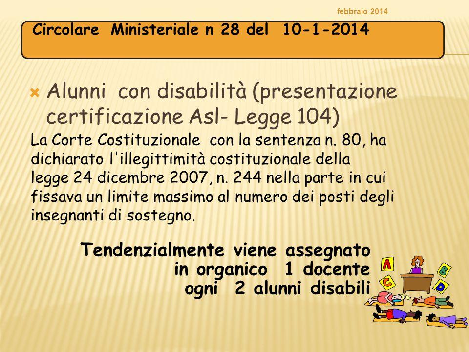  Alunni con disabilità (presentazione certificazione Asl- Legge 104) febbraio 2014 La Corte Costituzionale con la sentenza n. 80, ha dichiarato l'ill