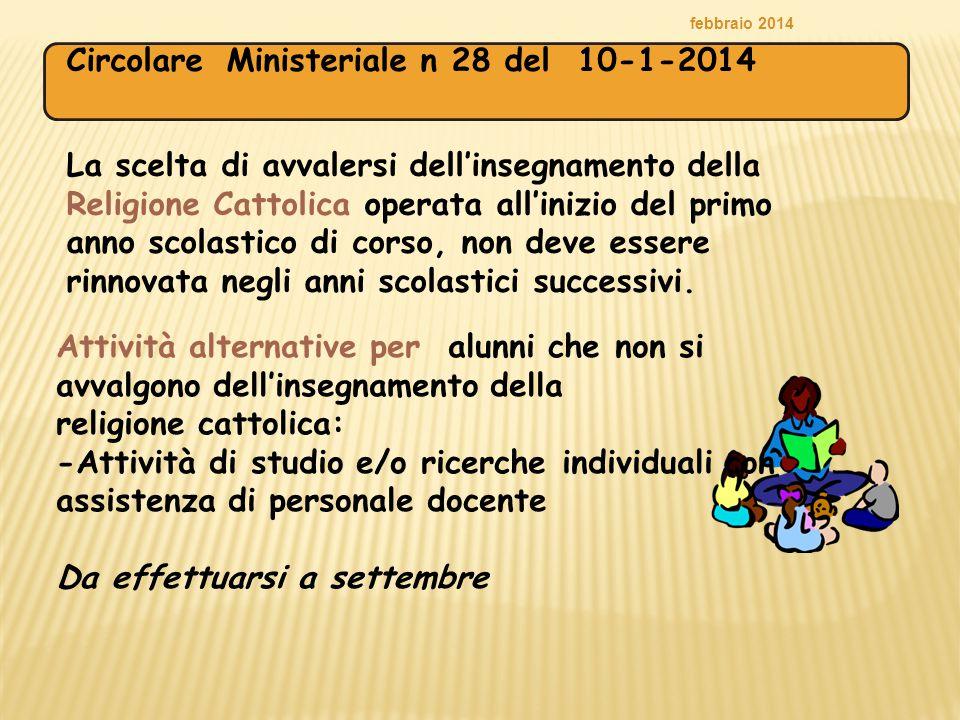 febbraio 2014 La scelta di avvalersi dell'insegnamento della Religione Cattolica operata all'inizio del primo anno scolastico di corso, non deve esser