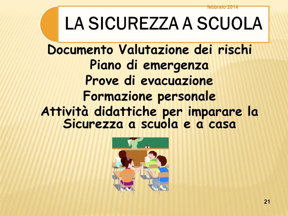 21 Documento Valutazione dei rischi Piano di emergenza Prove di evacuazione Formazione personale Attività didattiche per imparare la Sicurezza a scuol