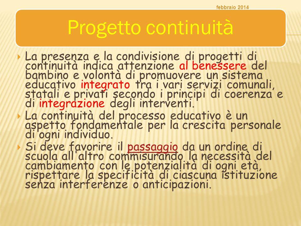 Progetto continuità  La presenza e la condivisione di progetti di continuità indica attenzione al benessere del bambino e volontà di promuovere un si