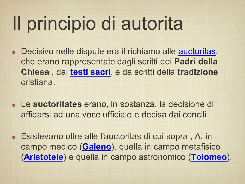 Il principio di autorita Decisivo nelle dispute era il richiamo alle auctoritas, che erano rappresentate dagli scritti dei Padri della Chiesa, dai tes
