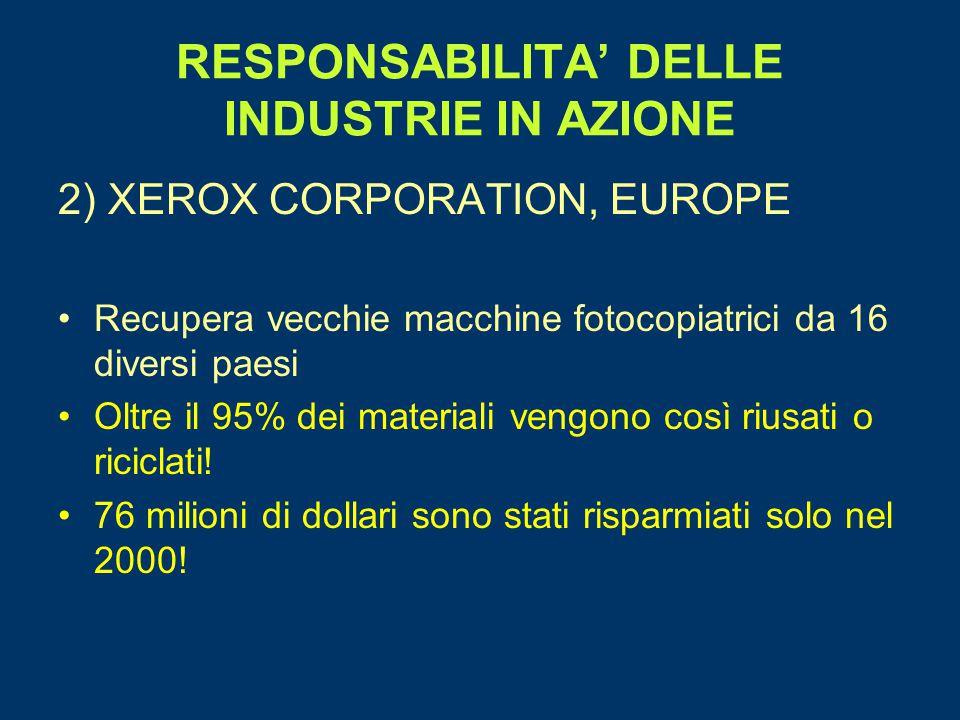RESPONSABILITA' DELLE INDUSTRIE IN AZIONE 2) XEROX CORPORATION, EUROPE Recupera vecchie macchine fotocopiatrici da 16 diversi paesi Oltre il 95% dei m