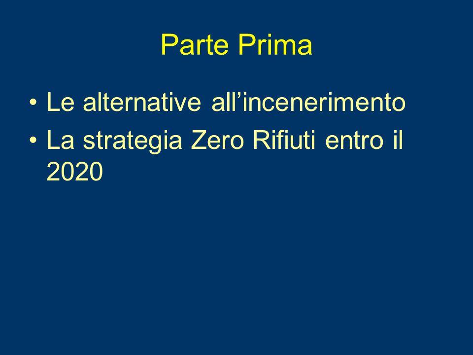 Parte Prima Le alternative all'incenerimento La strategia Zero Rifiuti entro il 2020