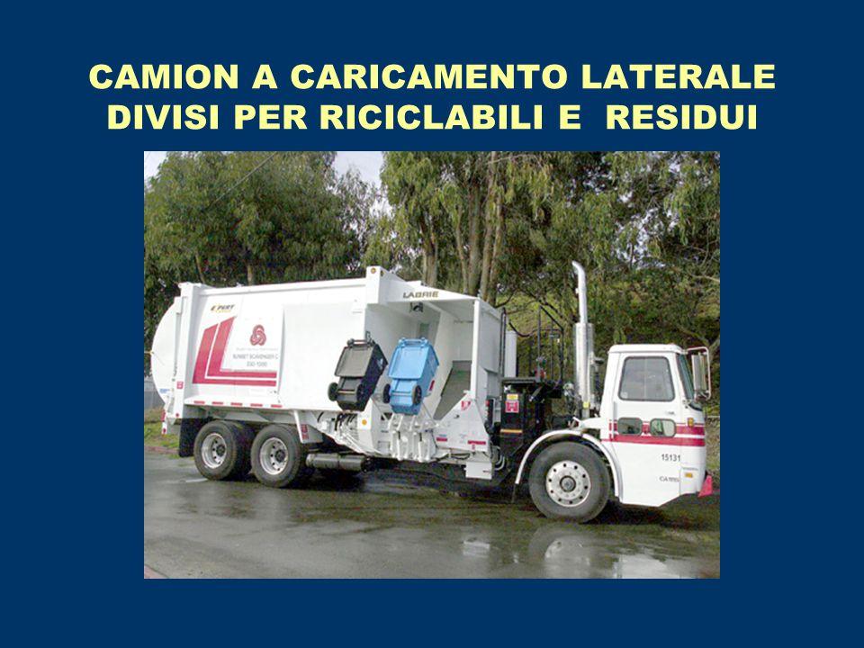 CAMION A CARICAMENTO LATERALE DIVISI PER RICICLABILI E RESIDUI