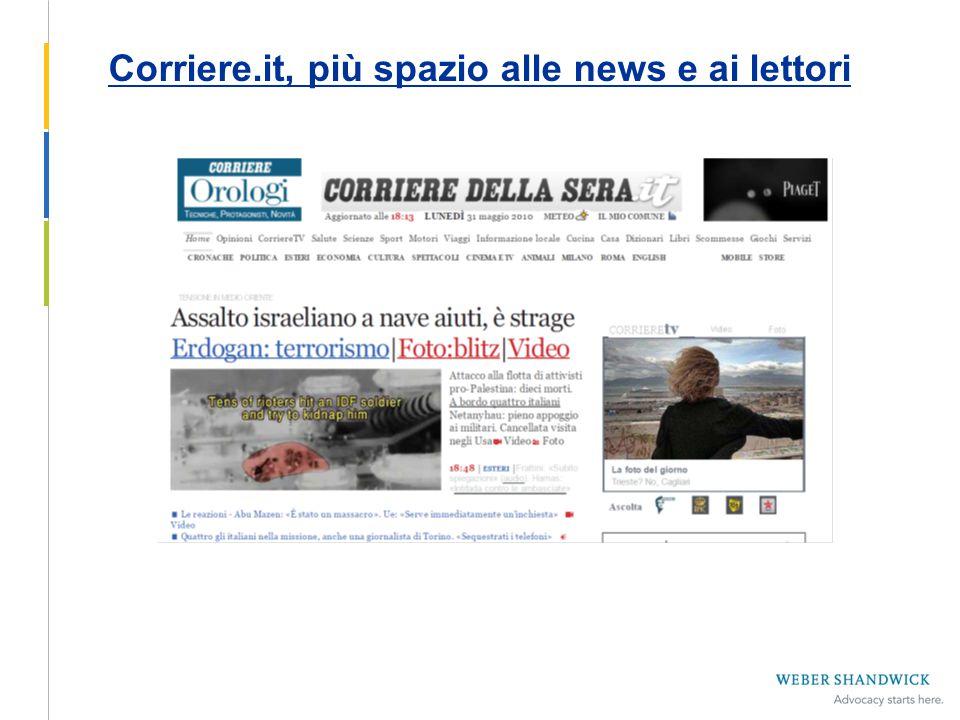 Corriere.it, più spazio a news e lettori