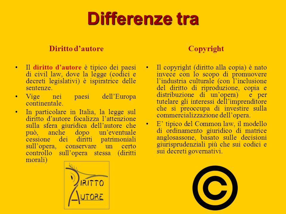 Differenze tra Diritto d'autore Il diritto d'autore è tipico dei paesi di civil law, dove la legge (codici e decreti legislativi) è ispiratrice delle