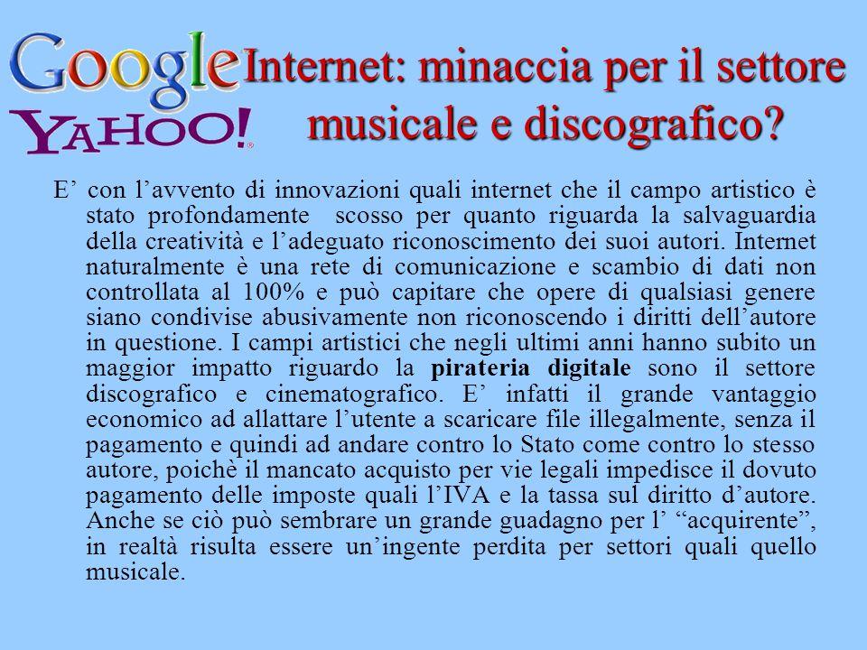 Internet: minaccia per il settore musicale e discografico? E' con l'avvento di innovazioni quali internet che il campo artistico è stato profondamente