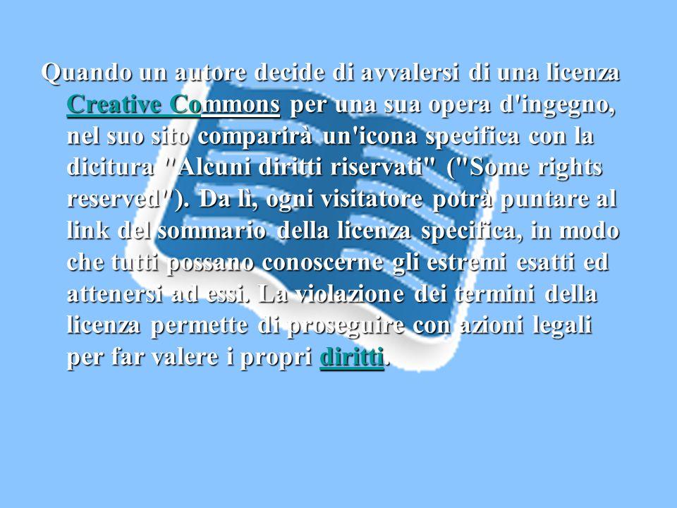 Quando un autore decide di avvalersi di una licenza Creative Commons per una sua opera d'ingegno, nel suo sito comparirà un'icona specifica con la dic
