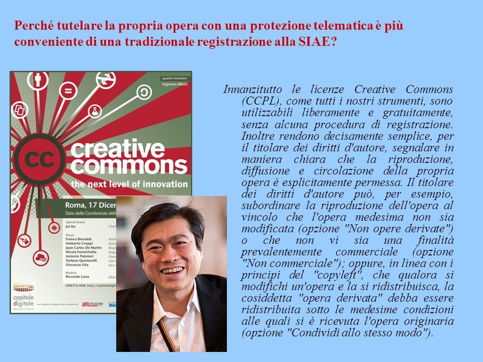 Innanzitutto le licenze Creative Commons (CCPL), come tutti i nostri strumenti, sono utilizzabili liberamente e gratuitamente, senza alcuna procedura