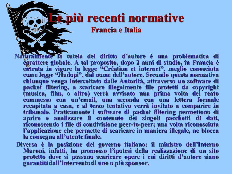 Le più recenti normative Francia e Italia Naturalmente la tutela del diritto d'autore è una problematica di carattere globale. A tal proposito, dopo 2