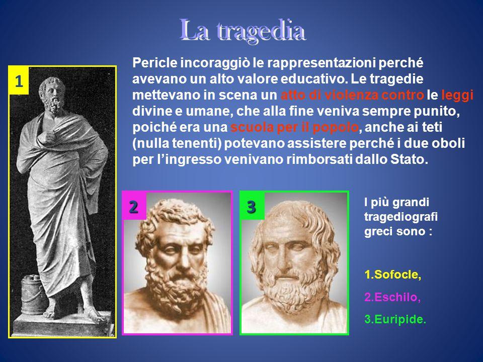 La tragedia Pericle incoraggiò le rappresentazioni perché avevano un alto valore educativo. Le tragedie mettevano in scena un atto di violenza contro