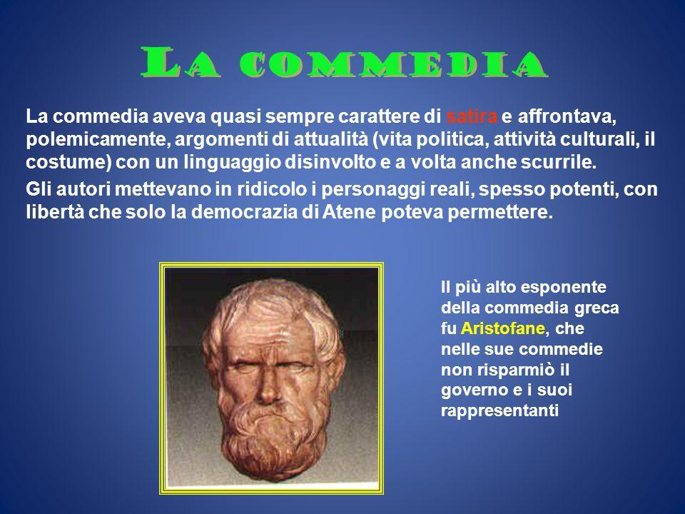 L a commedia La commedia aveva quasi sempre carattere di satira e affrontava, polemicamente, argomenti di attualità (vita politica, attività culturali