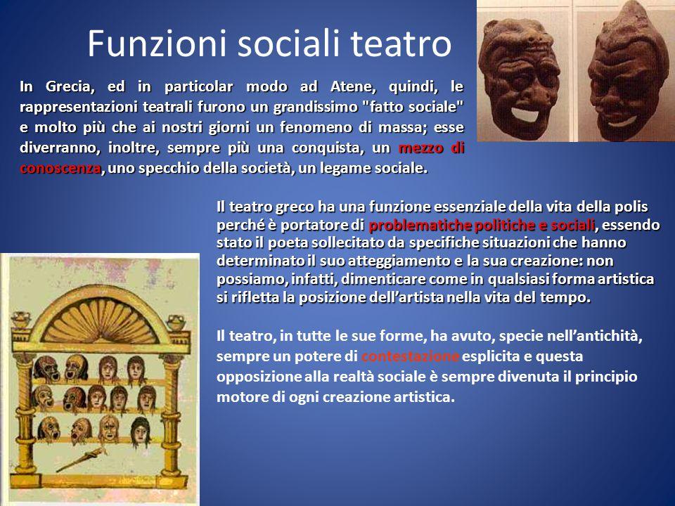 Funzioni sociali teatro Il teatro, in tutte le sue forme, ha avuto, specie nell'antichità, sempre un potere di contestazione esplicita e questa opposi