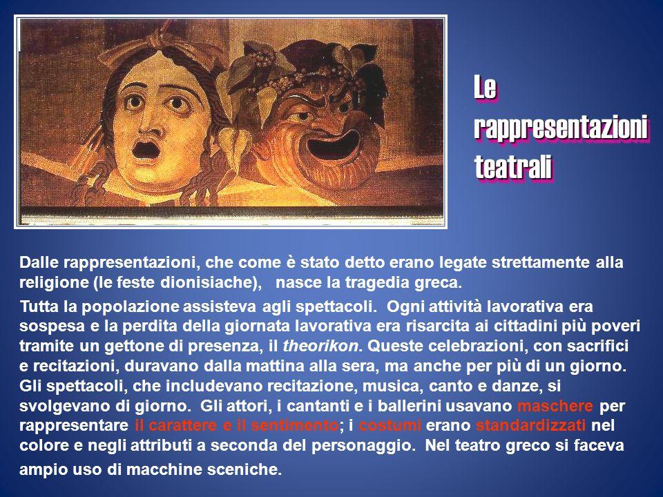 Dalle rappresentazioni, che come è stato detto erano legate strettamente alla religione (le feste dionisiache), nasce la tragedia greca. Tutta la popo