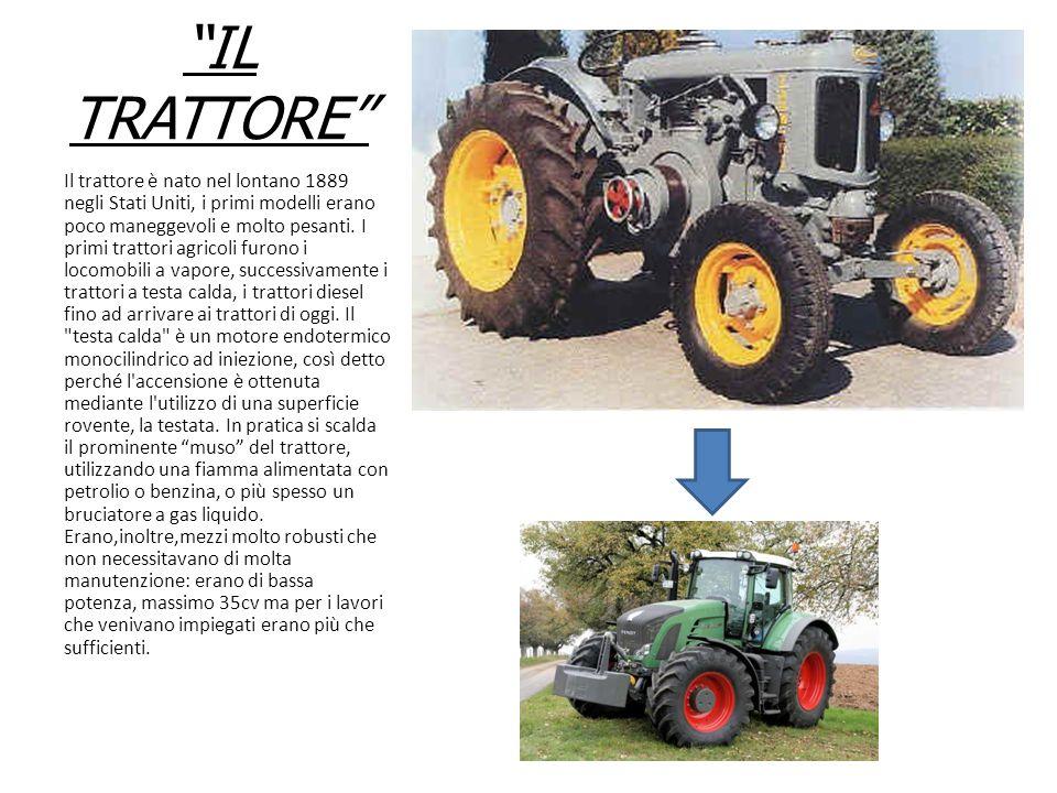 """""""IL TRATTORE"""" Il trattore è nato nel lontano 1889 negli Stati Uniti, i primi modelli erano poco maneggevoli e molto pesanti. I primi trattori agricoli"""