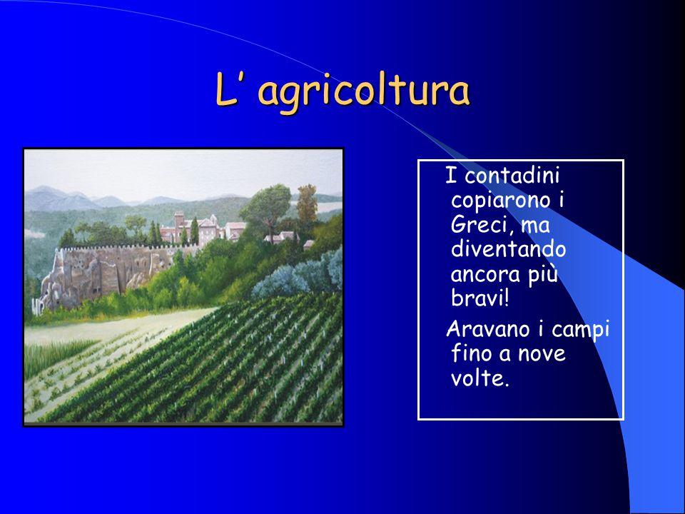 L' agricoltura I contadini copiarono i Greci, ma diventando ancora più bravi.