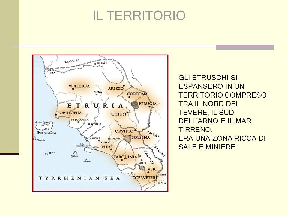 IL TERRITORIO GLI ETRUSCHI SI ESPANSERO IN UN TERRITORIO COMPRESO TRA IL NORD DEL TEVERE, IL SUD DELL'ARNO E IL MAR TIRRENO.