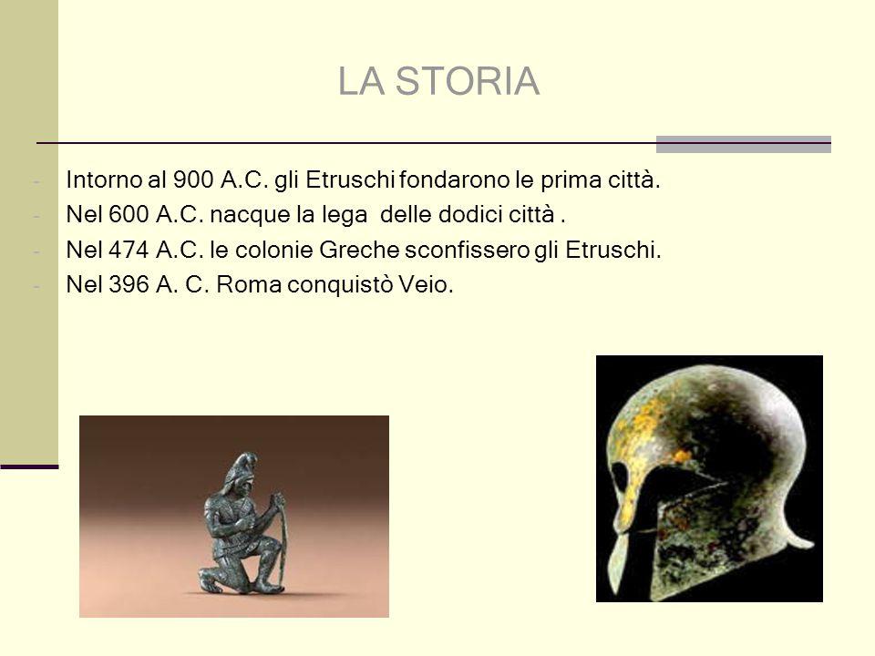 LA STORIA - Intorno al 900 A.C. gli Etruschi fondarono le prima città. - Nel 600 A.C. nacque la lega delle dodici città. - Nel 474 A.C. le colonie Gre