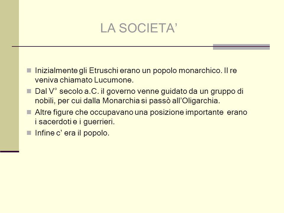 Inizialmente gli Etruschi erano un popolo monarchico.