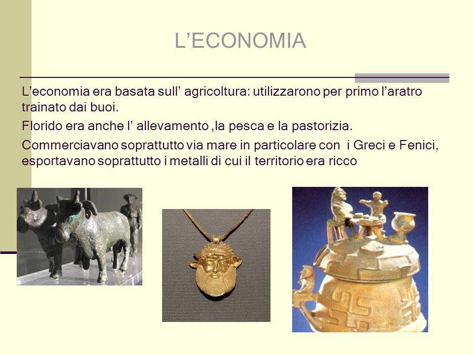 L'economia era basata sull' agricoltura: utilizzarono per primo l'aratro trainato dai buoi. Florido era anche l' allevamento,la pesca e la pastorizia.