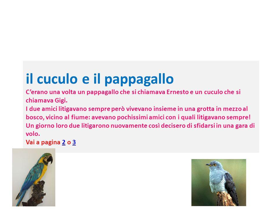 il cuculo e il pappagallo C'erano una volta un pappagallo che si chiamava Ernesto e un cuculo che si chiamava Gigi.