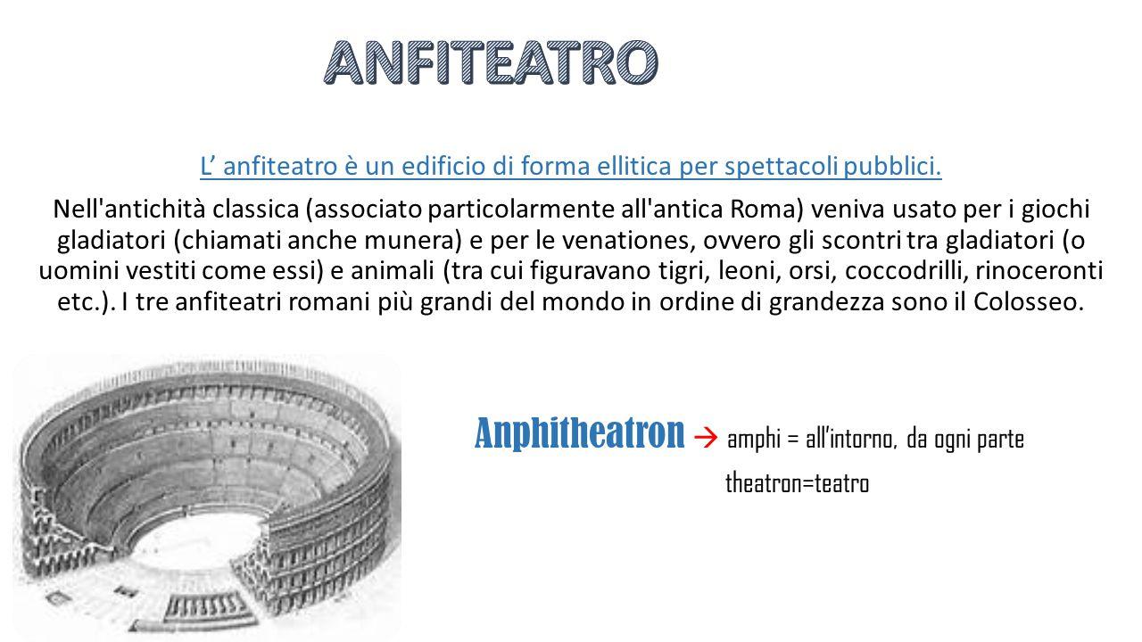 L' anfiteatro è un edificio di forma ellitica per spettacoli pubblici. Nell'antichità classica (associato particolarmente all'antica Roma) veniva usat