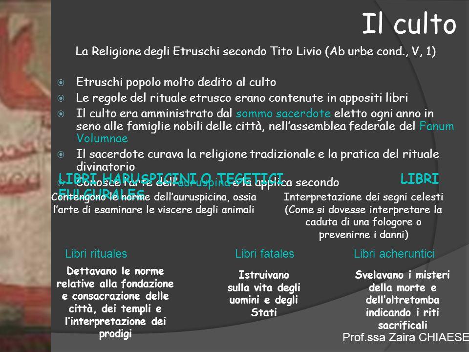 Prof.ssa Zaira CHIAESE La Religione degli Etruschi secondo Tito Livio (Ab urbe cond., V, 1)  Etruschi popolo molto dedito al culto  Le regole del ri