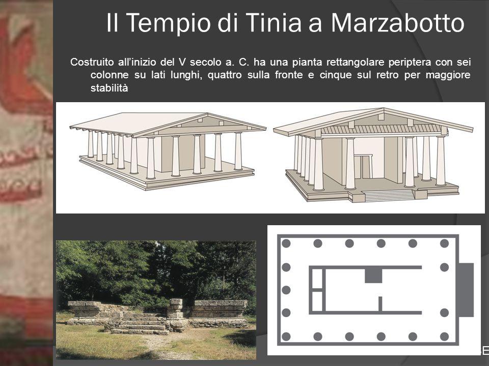 Prof.ssa Zaira CHIAESE Il Tempio di Tinia a Marzabotto Costruito all'inizio del V secolo a. C. ha una pianta rettangolare periptera con sei colonne su